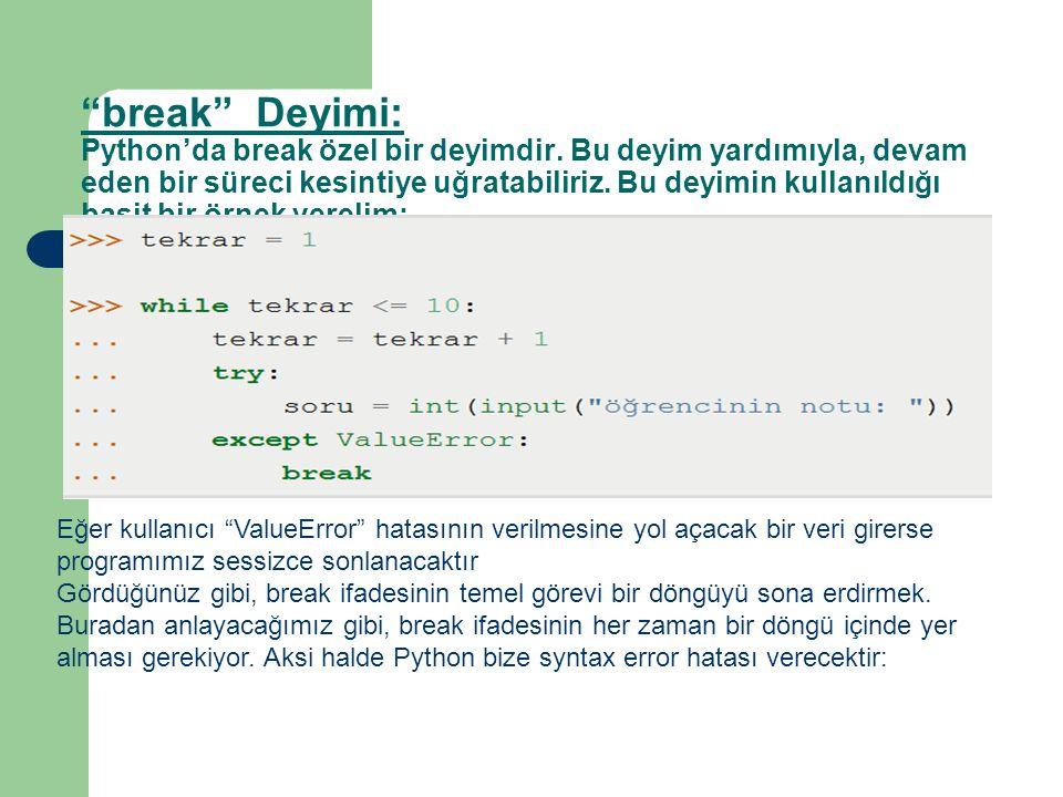 break Deyimi: Python'da break özel bir deyimdir