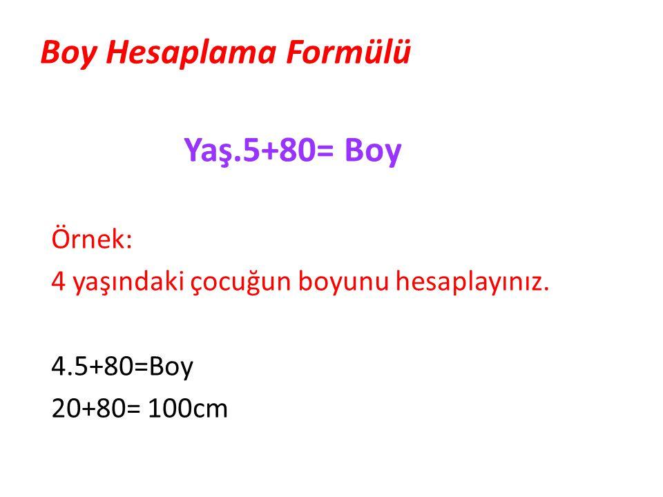 Boy Hesaplama Formülü Yaş.5+80= Boy Örnek: