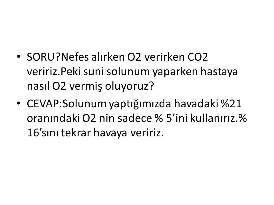 SORU. Nefes alırken O2 verirken CO2 veririz