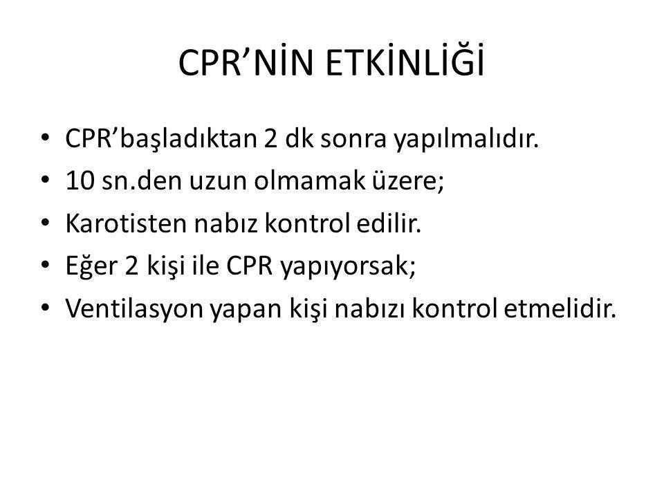 CPR'NİN ETKİNLİĞİ CPR'başladıktan 2 dk sonra yapılmalıdır.