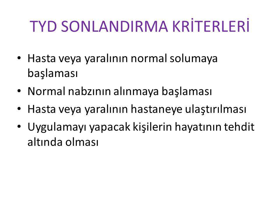 TYD SONLANDIRMA KRİTERLERİ