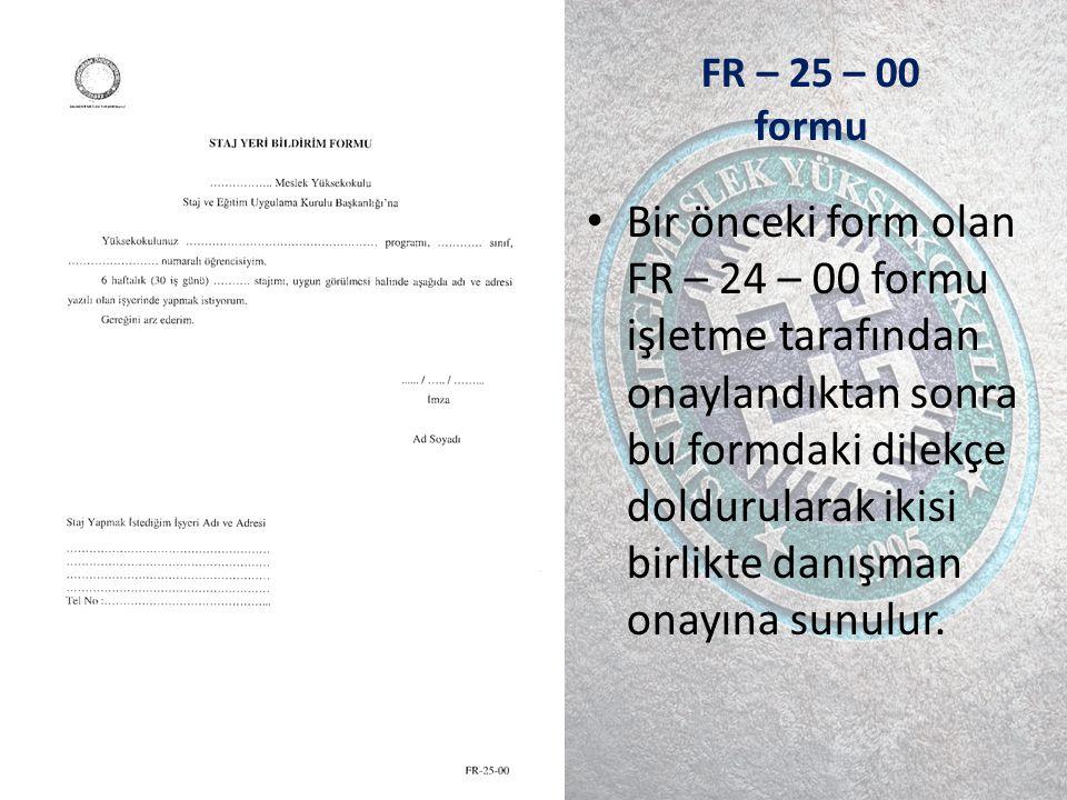 FR – 25 – 00 formu