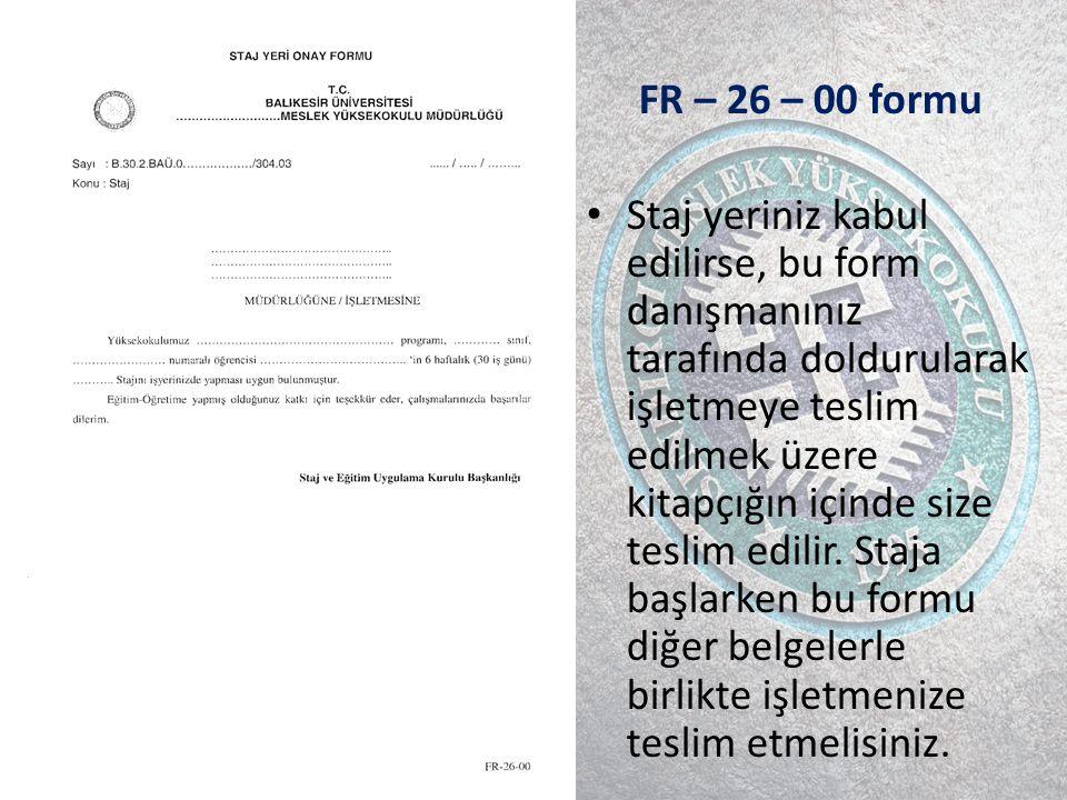 FR – 26 – 00 formu