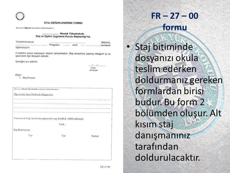 FR – 27 – 00 formu