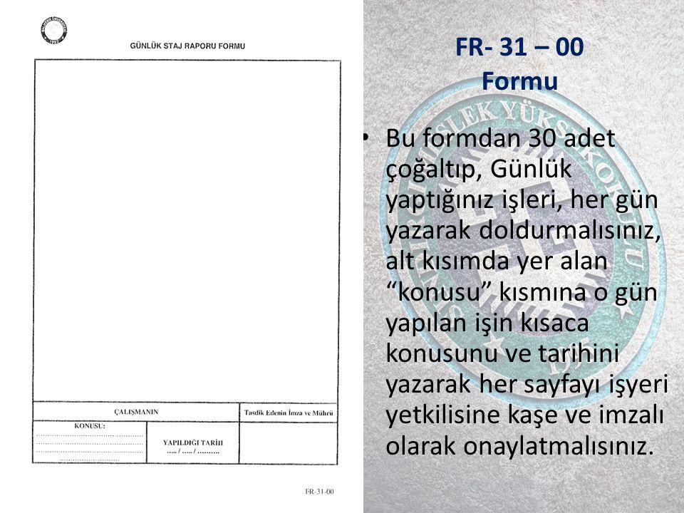 FR- 31 – 00 Formu
