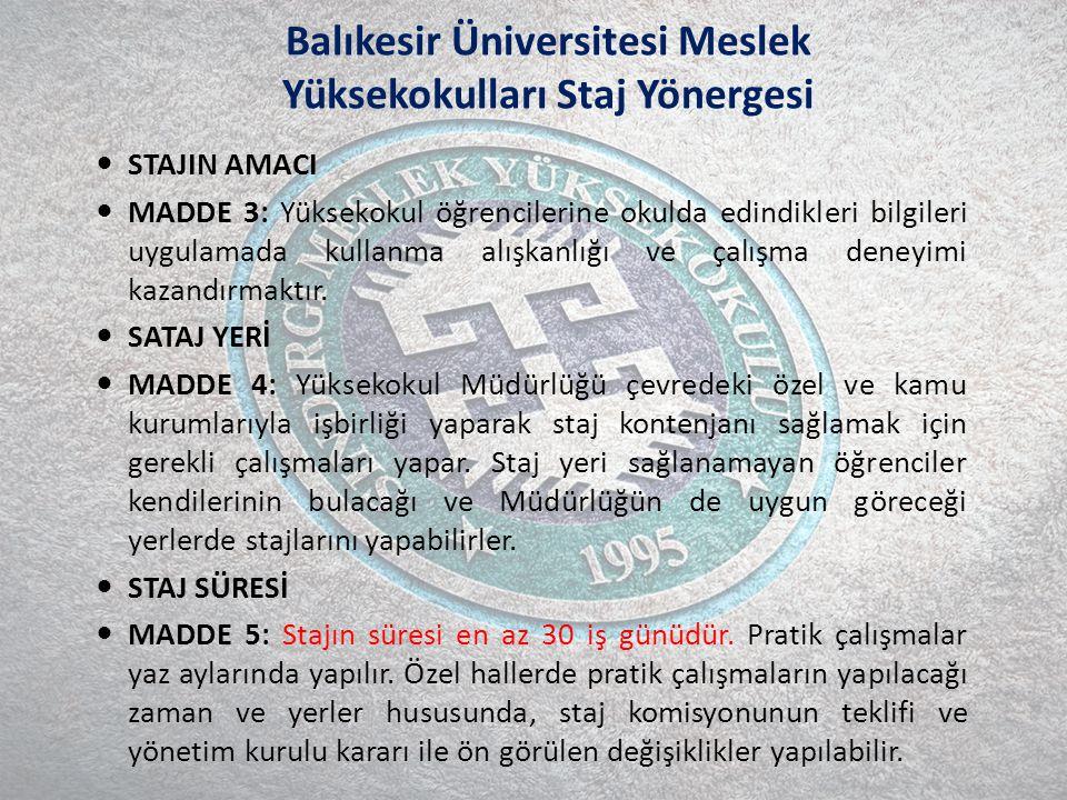 Balıkesir Üniversitesi Meslek Yüksekokulları Staj Yönergesi