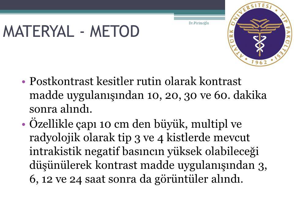 MATERYAL - METOD Dr.Pirimoğlu. Postkontrast kesitler rutin olarak kontrast madde uygulanışından 10, 20, 30 ve 60. dakika sonra alındı.