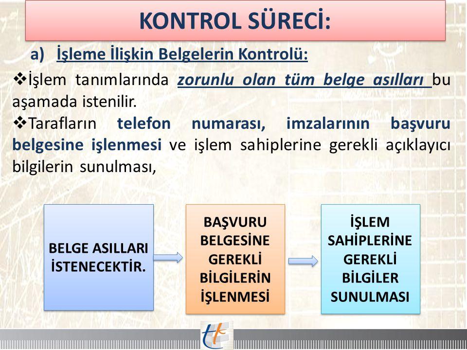 KONTROL SÜRECİ: İşleme İlişkin Belgelerin Kontrolü: