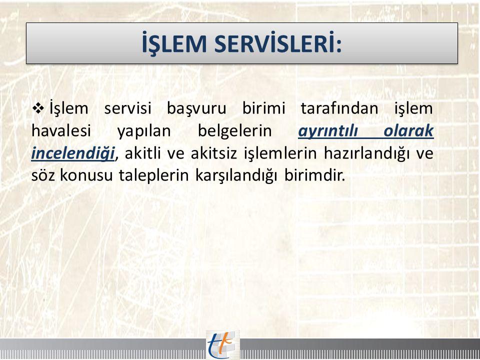 İŞLEM SERVİSLERİ: