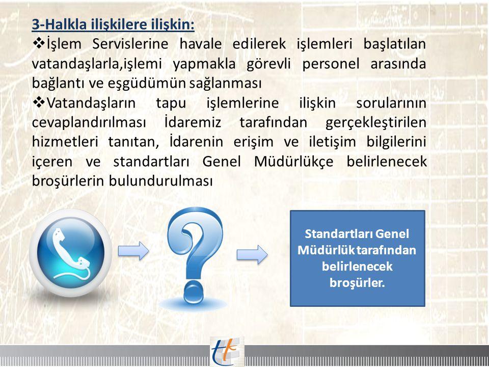 Standartları Genel Müdürlük tarafından belirlenecek broşürler.