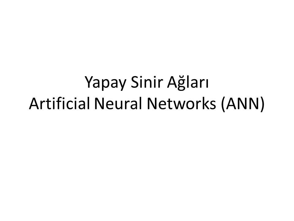 Yapay Sinir Ağları Artificial Neural Networks (ANN)