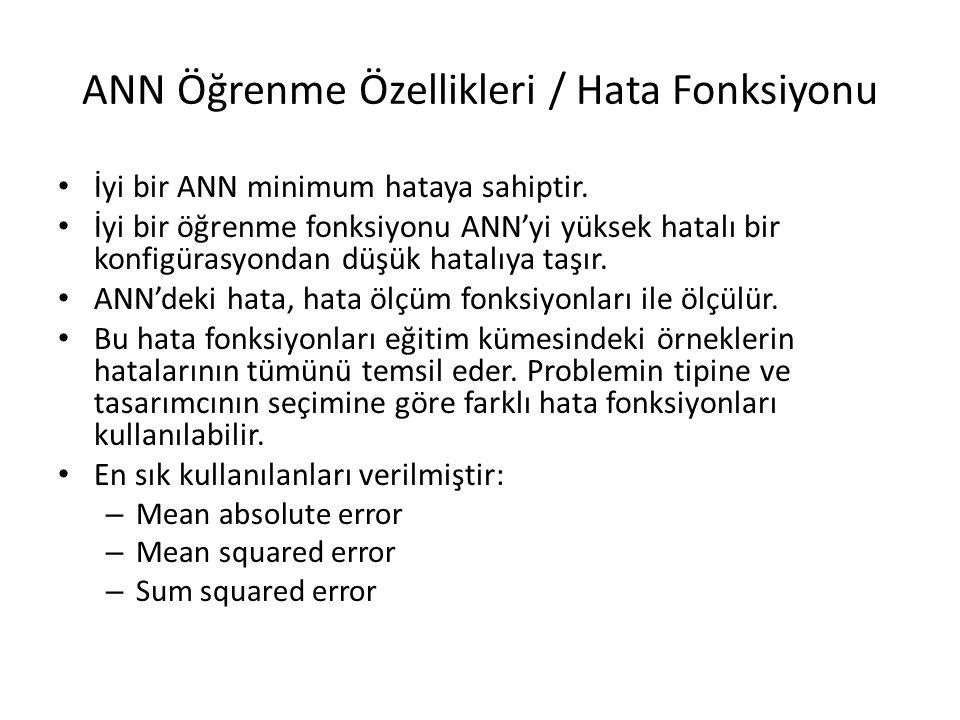 ANN Öğrenme Özellikleri / Hata Fonksiyonu