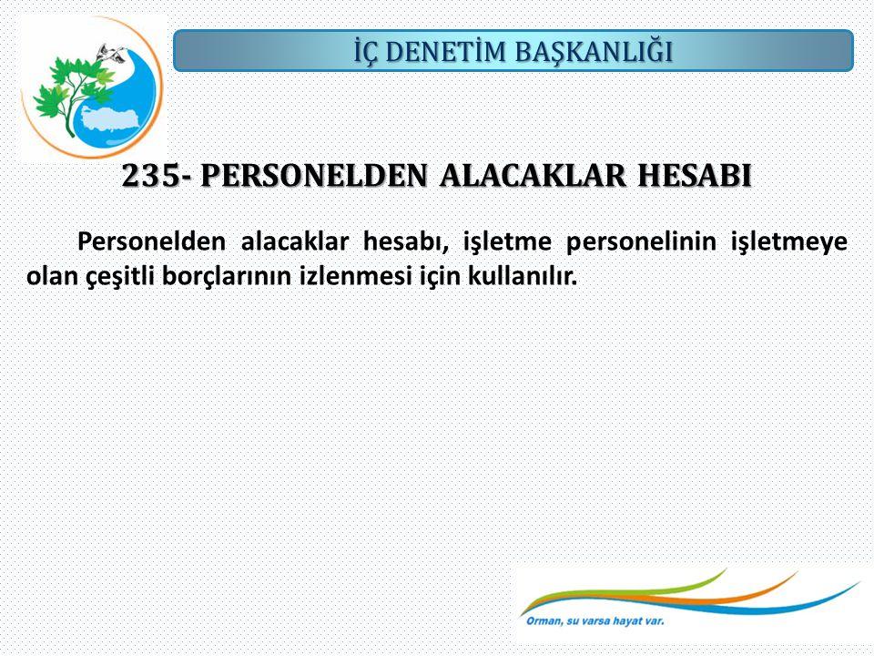 235- PERSONELDEN ALACAKLAR HESABI
