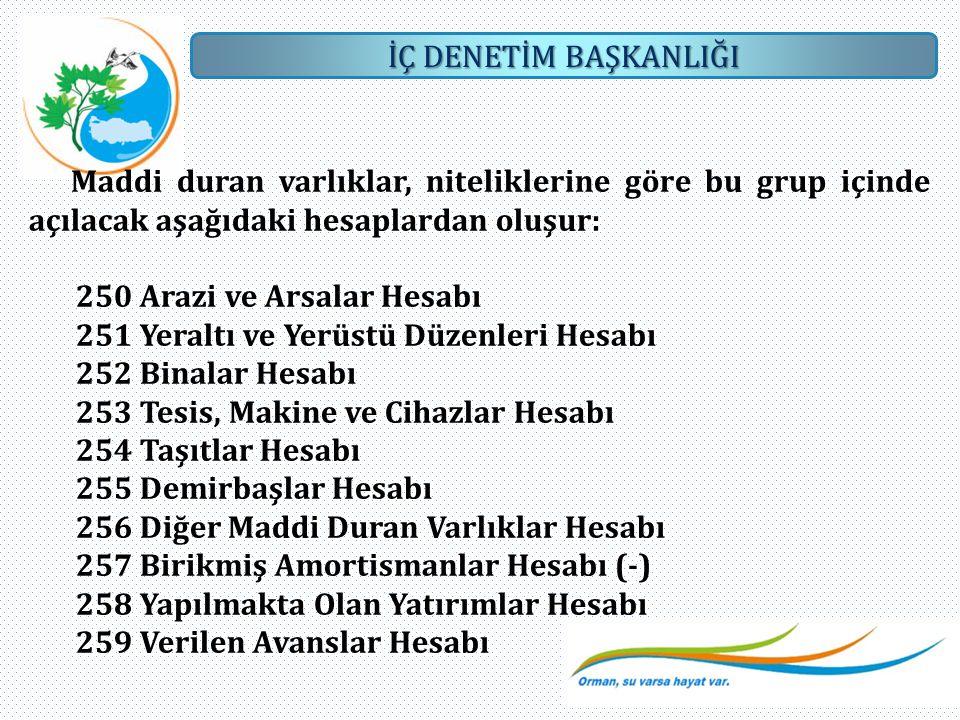Maddi duran varlıklar, niteliklerine göre bu grup içinde açılacak aşağıdaki hesaplardan oluşur: