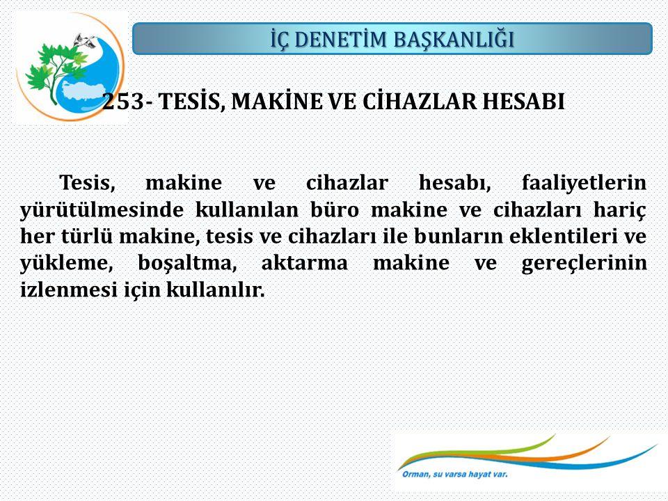 253- TESİS, MAKİNE VE CİHAZLAR HESABI