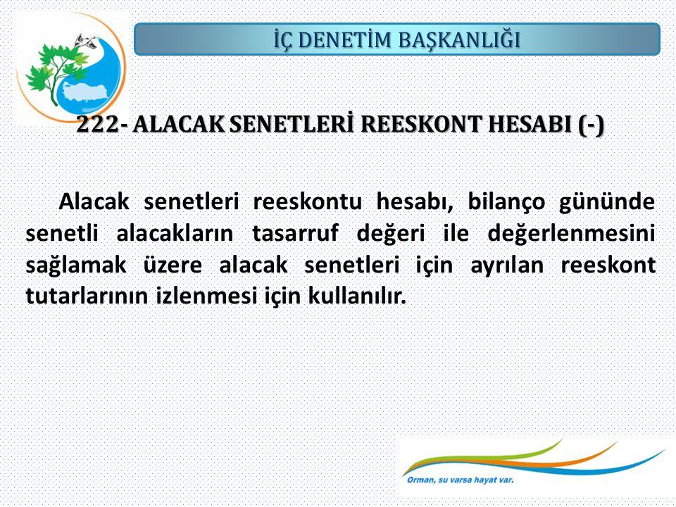 222- ALACAK SENETLERİ REESKONT HESABI (-)