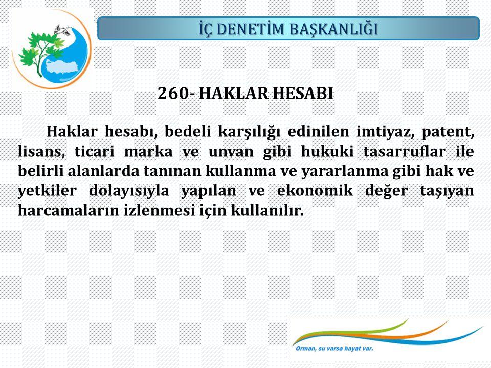 260- HAKLAR HESABI