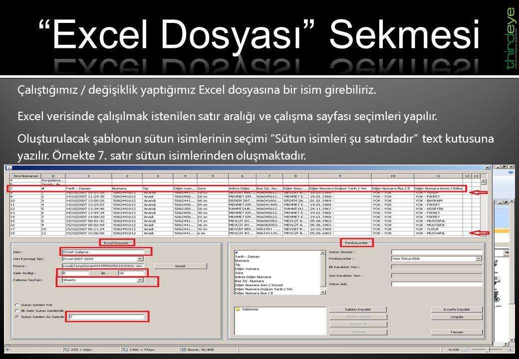 Excel Dosyası Sekmesi