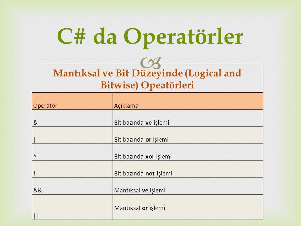 Mantıksal ve Bit Düzeyinde (Logical and Bitwise) Opeatörleri