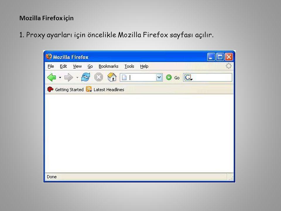 Mozilla Firefox için 1. Proxy ayarları için öncelikle Mozilla Firefox sayfası açılır.