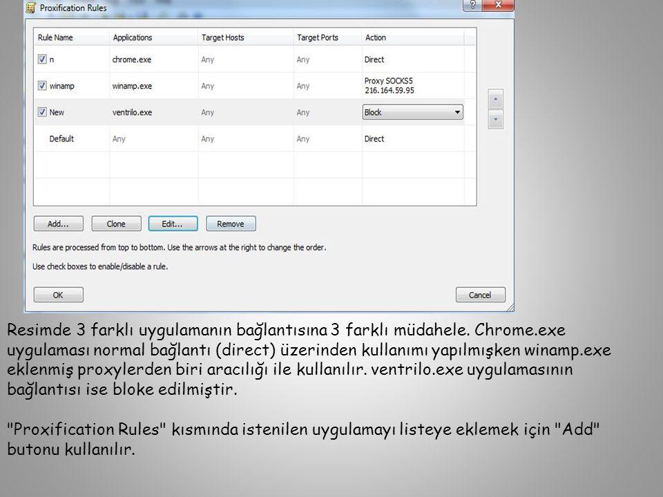 Resimde 3 farklı uygulamanın bağlantısına 3 farklı müdahele. Chrome
