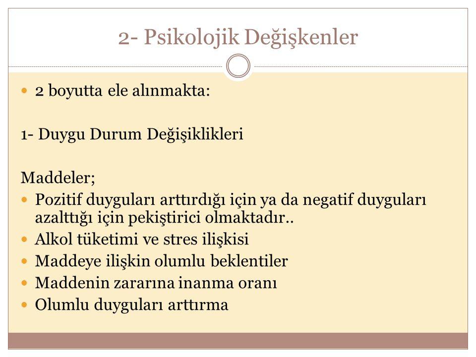 2- Psikolojik Değişkenler