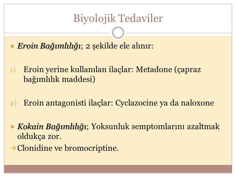 Biyolojik Tedaviler Eroin Bağımlılığı; 2 şekilde ele alınır: