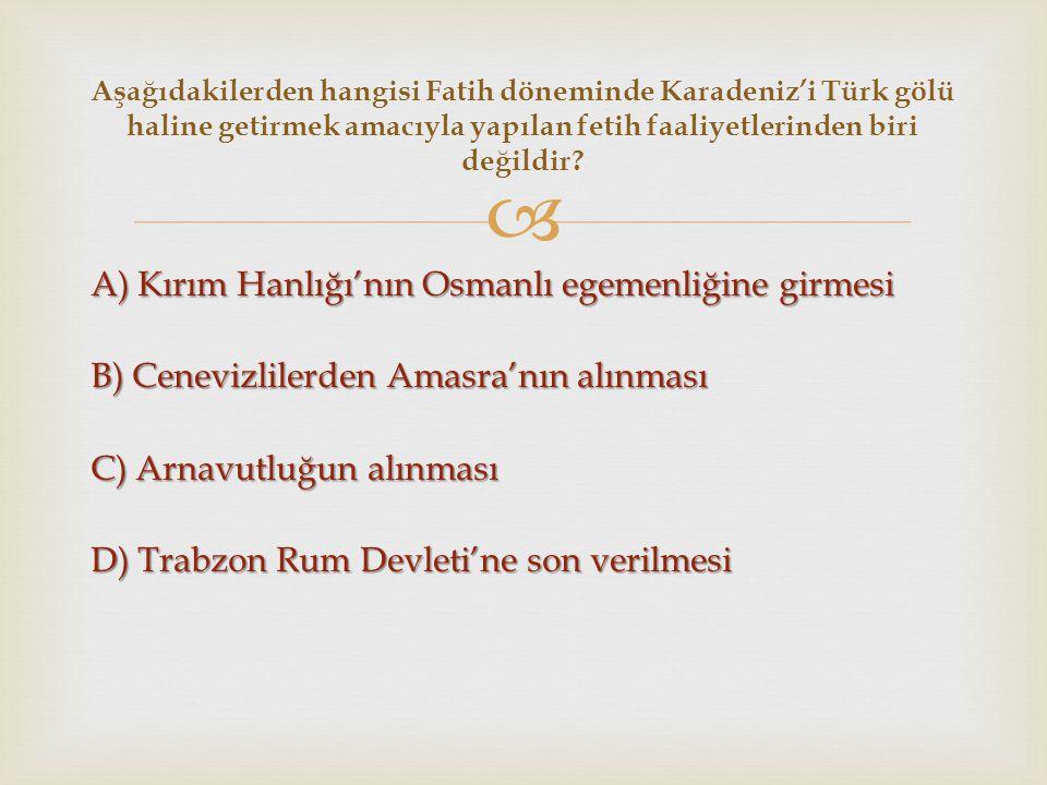 Aşağıdakilerden hangisi Fatih döneminde Karadeniz'i Türk gölü haline getirmek amacıyla yapılan fetih faaliyetlerinden biri değildir