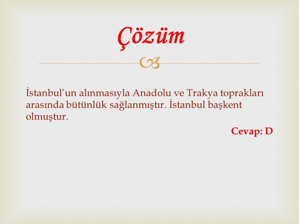 Çözüm İstanbul'un alınmasıyla Anadolu ve Trakya toprakları arasında bütünlük sağlanmıştır.