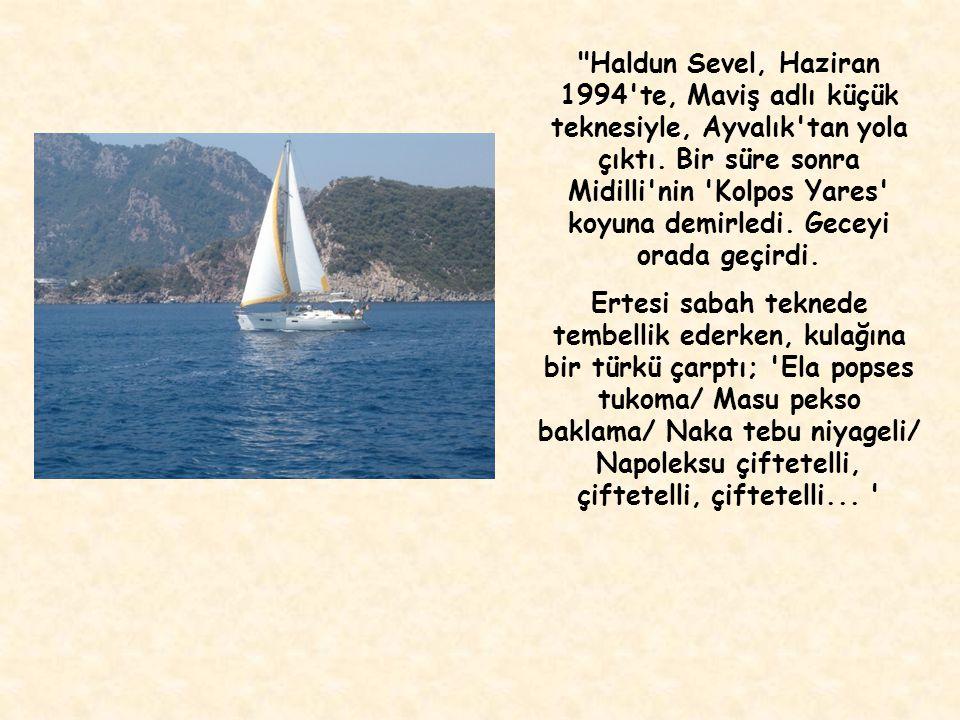 Haldun Sevel, Haziran 1994 te, Maviş adlı küçük teknesiyle, Ayvalık tan yola çıktı. Bir süre sonra Midilli nin Kolpos Yares koyuna demirledi. Geceyi orada geçirdi.