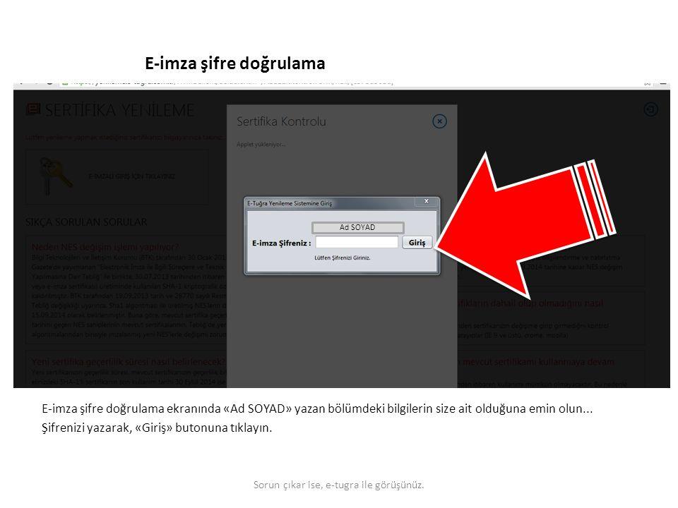 E-imza şifre doğrulama