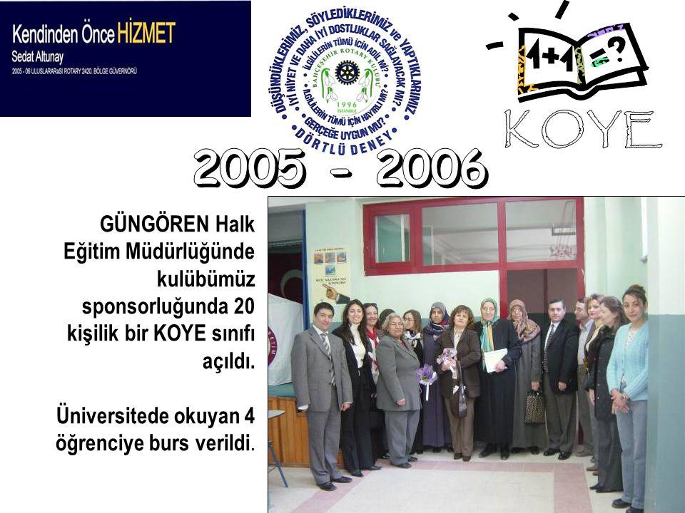 KOYE 2005 - 2006. GÜNGÖREN Halk Eğitim Müdürlüğünde kulübümüz sponsorluğunda 20 kişilik bir KOYE sınıfı açıldı.