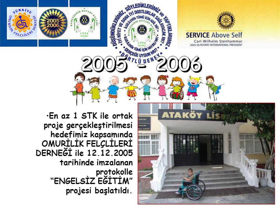2005 - 2006 En az 1 STK ile ortak proje gerçekleştirilmesi hedefimiz kapsamında.