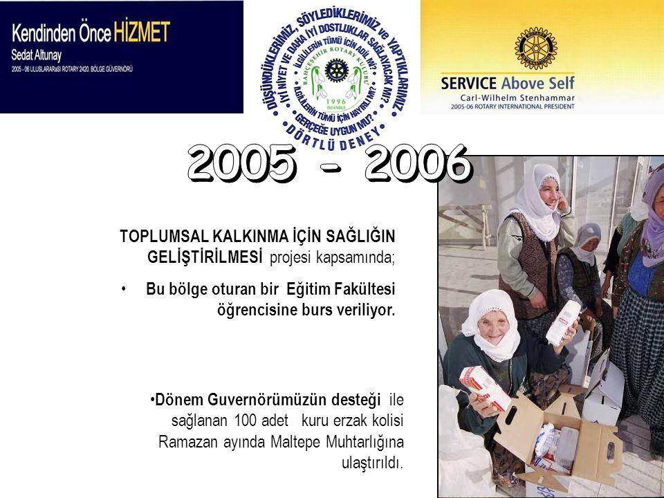 2005 - 2006 TOPLUMSAL KALKINMA İÇİN SAĞLIĞIN GELİŞTİRİLMESİ projesi kapsamında; Bu bölge oturan bir Eğitim Fakültesi öğrencisine burs veriliyor.
