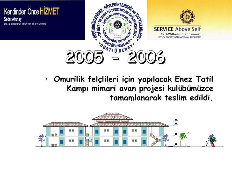 2005 - 2006 Omurilik felçlileri için yapılacak Enez Tatil Kampı mimari avan projesi kulübümüzce tamamlanarak teslim edildi.