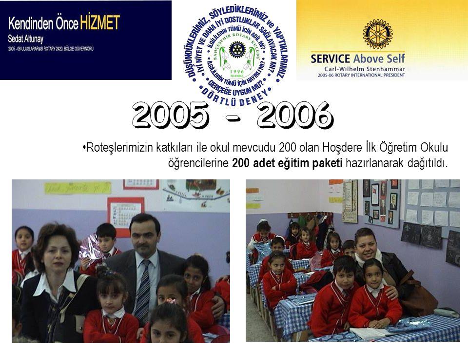 2005 - 2006 Roteşlerimizin katkıları ile okul mevcudu 200 olan Hoşdere İlk Öğretim Okulu öğrencilerine 200 adet eğitim paketi hazırlanarak dağıtıldı.