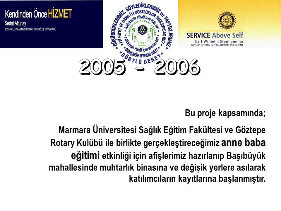 2005 - 2006 Bu proje kapsamında;