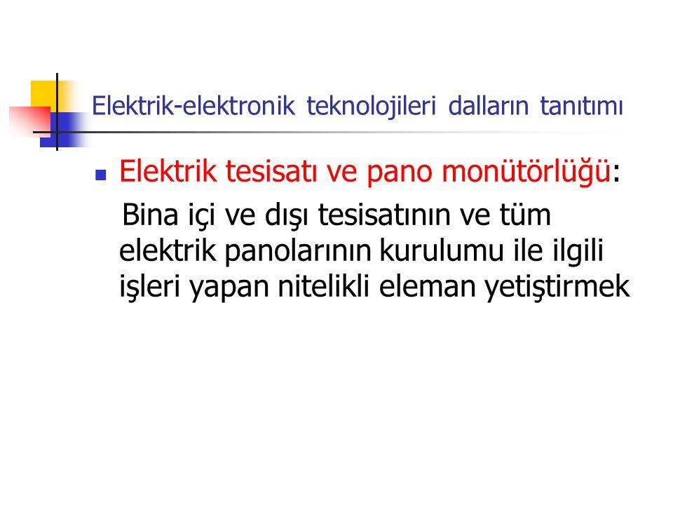 Elektrik-elektronik teknolojileri dalların tanıtımı