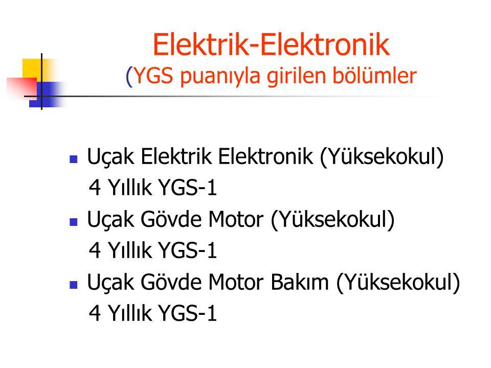 Elektrik-Elektronik (YGS puanıyla girilen bölümler