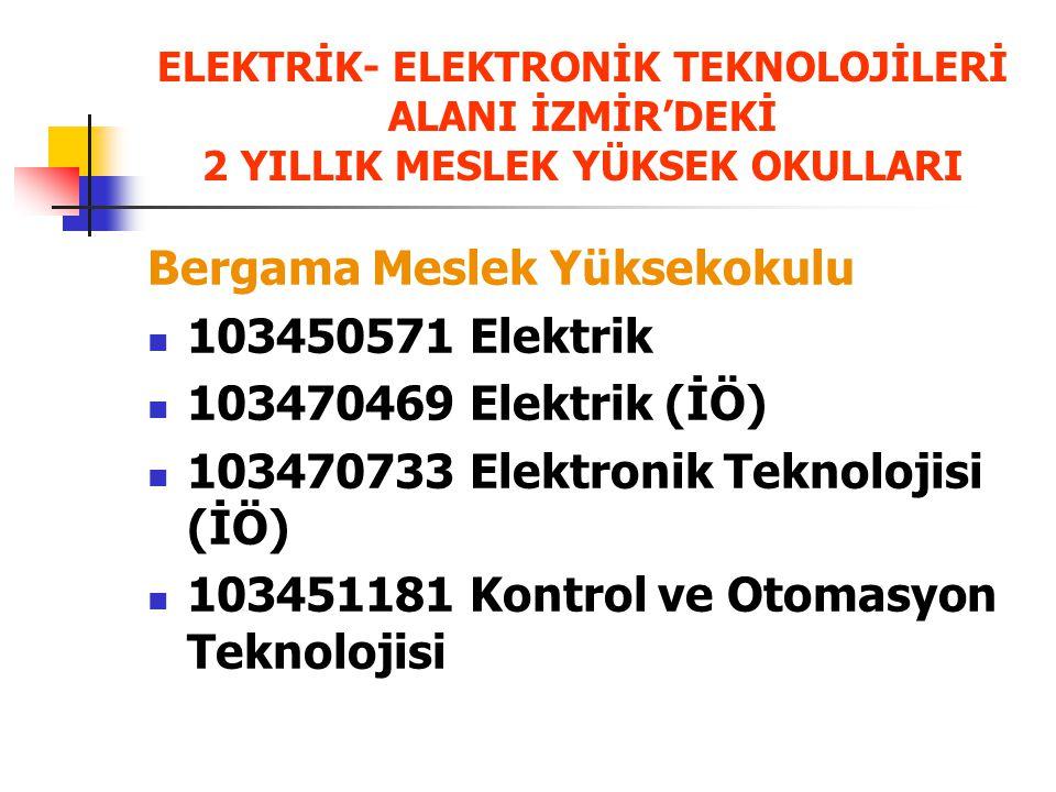 Bergama Meslek Yüksekokulu 103450571 Elektrik 103470469 Elektrik (İÖ)
