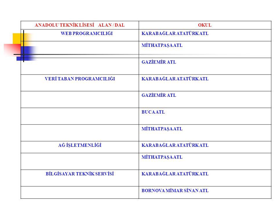ANADOLU TEKNİK LİSESİ ALAN / DAL OKUL WEB PROGRAMCILIĞI