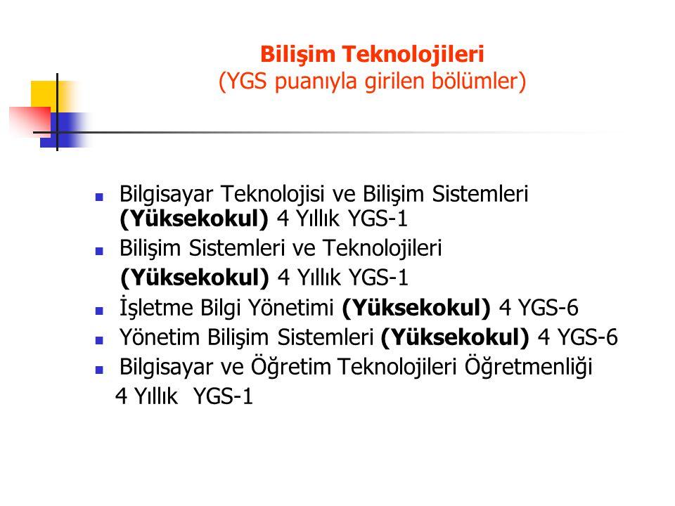 Bilişim Teknolojileri (YGS puanıyla girilen bölümler)