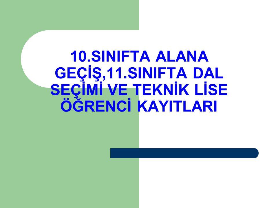 10.SINIFTA ALANA GEÇİŞ,11.SINIFTA DAL SEÇİMİ VE TEKNİK LİSE ÖĞRENCİ KAYITLARI