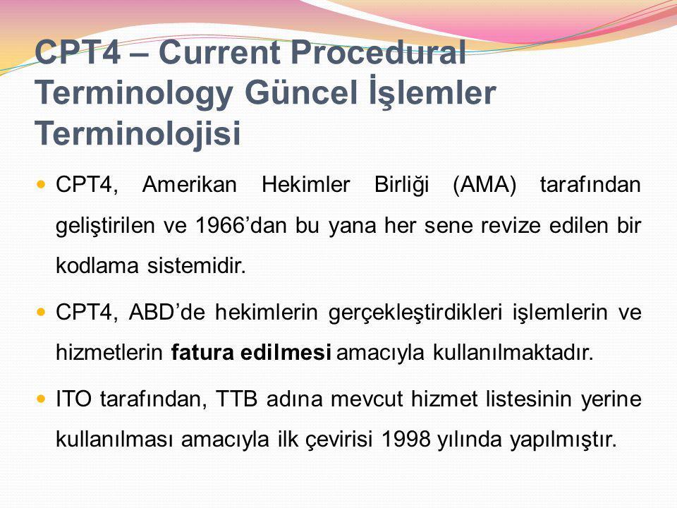 CPT4 – Current Procedural Terminology Güncel İşlemler Terminolojisi