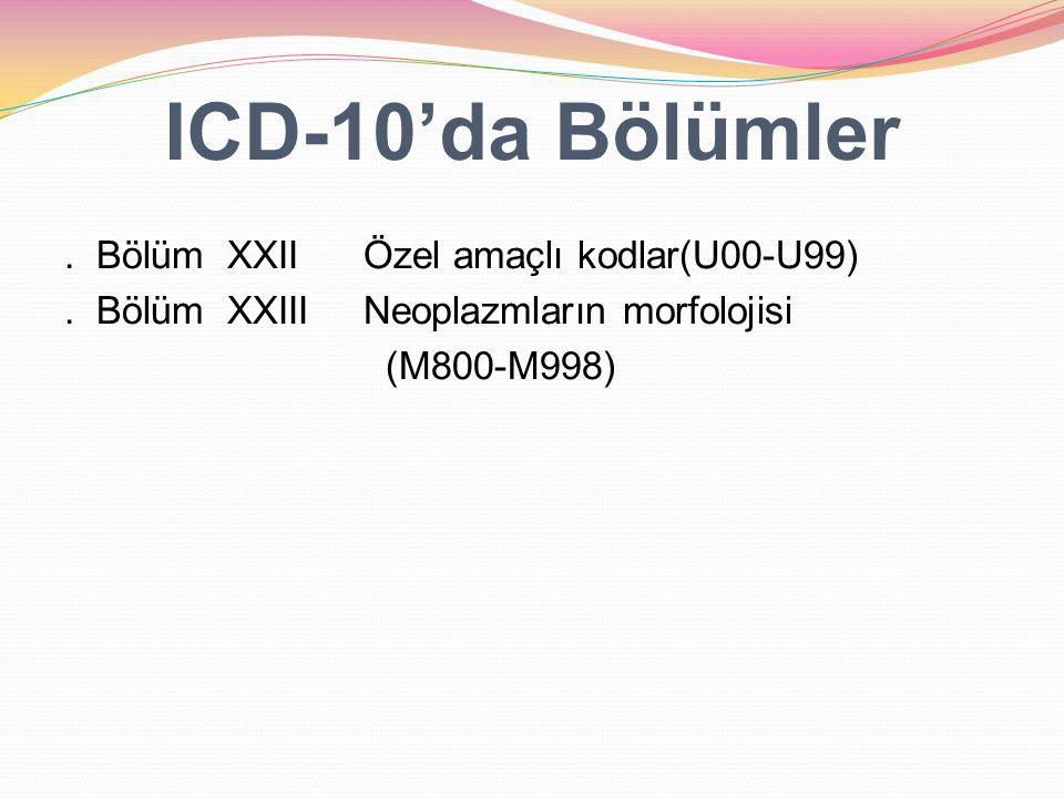 ICD-10'da Bölümler . Bölüm XXII Özel amaçlı kodlar(U00-U99) .