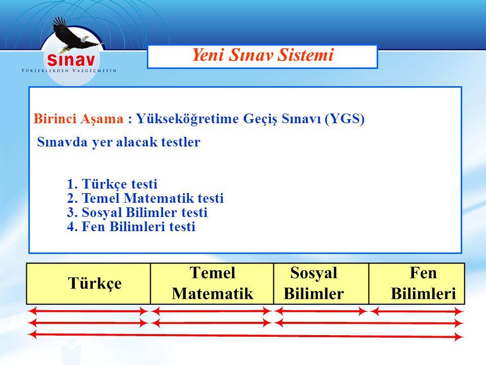 Yeni Sınav Sistemi Birinci Aşama : Yükseköğretime Geçiş Sınavı (YGS)