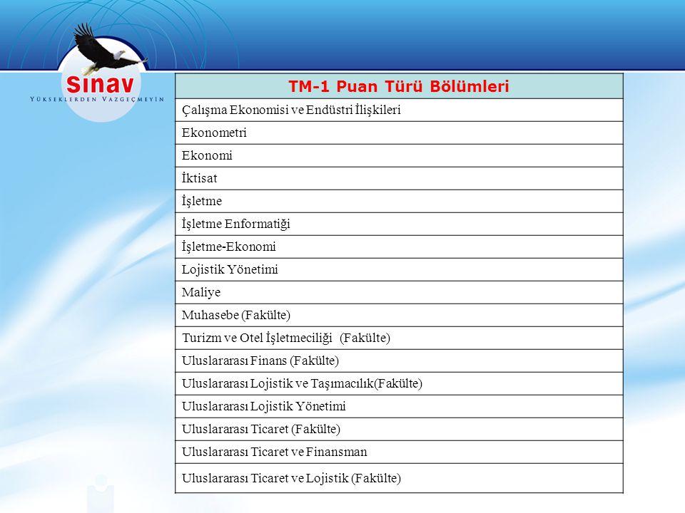 TM-1 Puan Türü Bölümleri