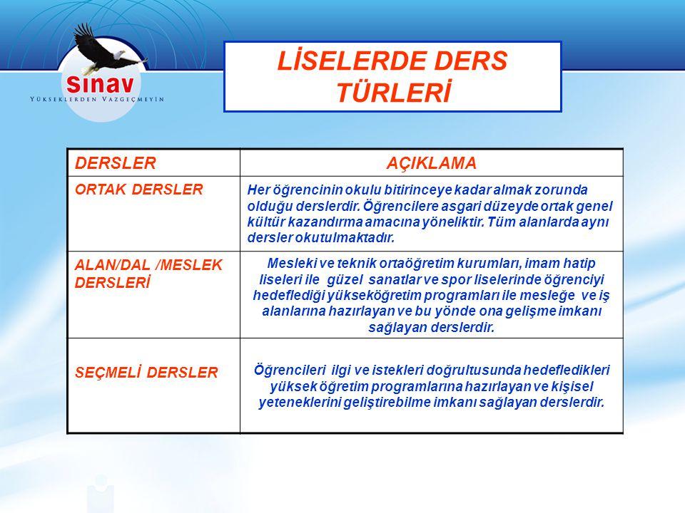 LİSELERDE DERS TÜRLERİ