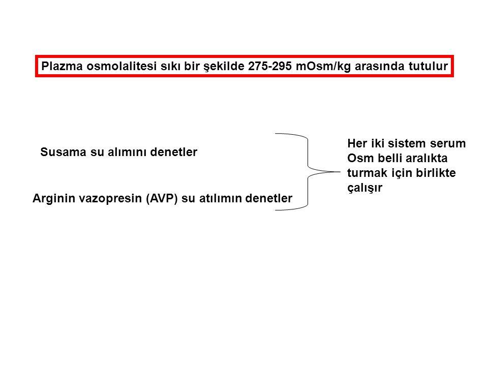 Plazma osmolalitesi sıkı bir şekilde 275-295 mOsm/kg arasında tutulur