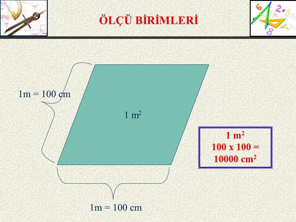 ÖLÇÜ BİRİMLERİ 1m = 100 cm 1 m2 1 m2 100 x 100 = 10000 cm2 1m = 100 cm